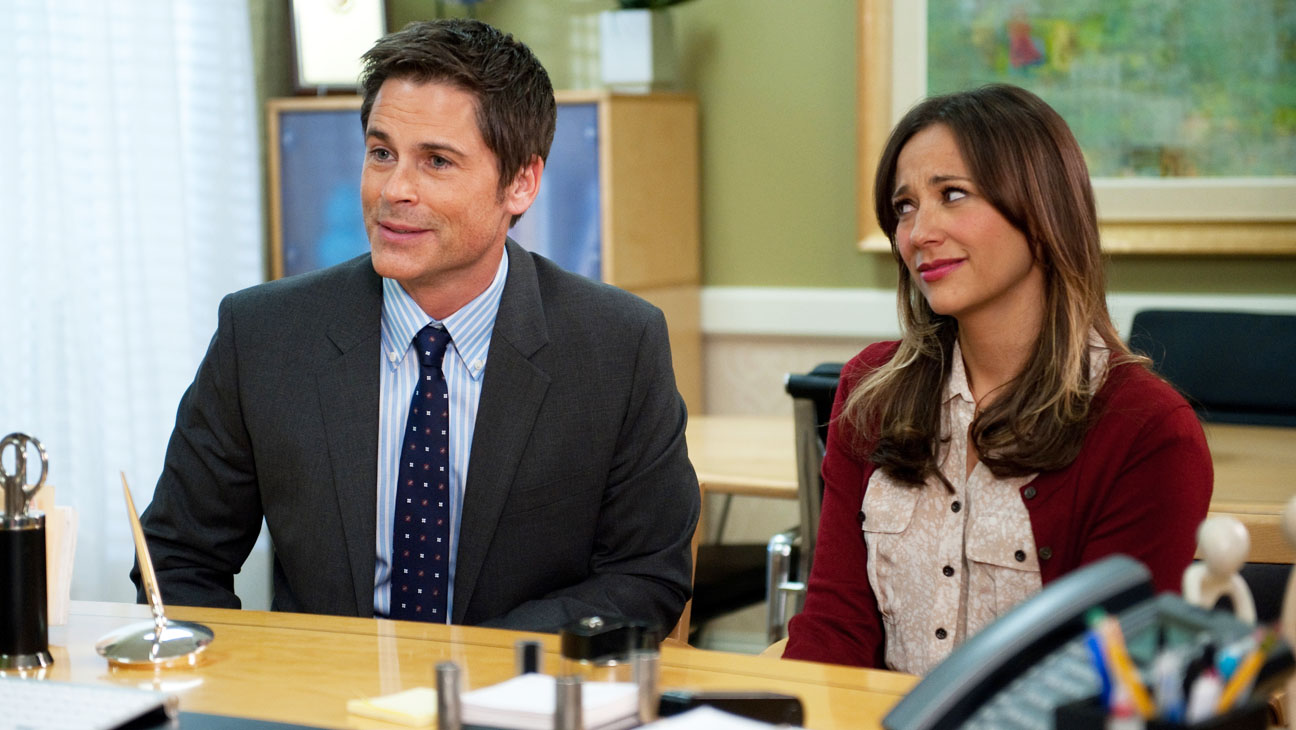 "PARKS AND RECREATION -- ""Partridge"" Episode 517 -- Pictured: (l-r) Rob Lowe as Chris Traeger, Rashida Jones as Ann Perkins -- (Photo by: Colleen Hayes/NBC)"
