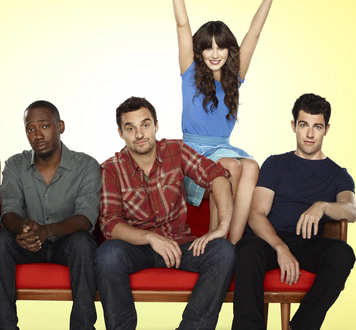 NEW GIRL: The new comedy starring Zooey Deschanel as an adorkable girl who moves in with three single guys, changing their lives in unexpected ways, premieres Tuesday, Sept. 20 (9:00-9:30 PM ET/PT) on FOX. (Pictured L-R: Hannah Simone, Lamorne Morris, Jake Johnson, Zooey Deschanel and Max Greenfield). ©2011 Fox Broadcasting Co. Cr: Autumn DeWilde/FOX