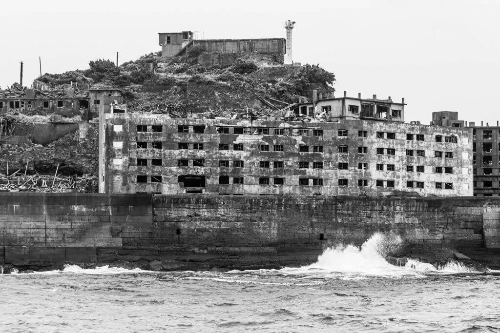 Hashima Island, once had a population of 5000 coal miners,