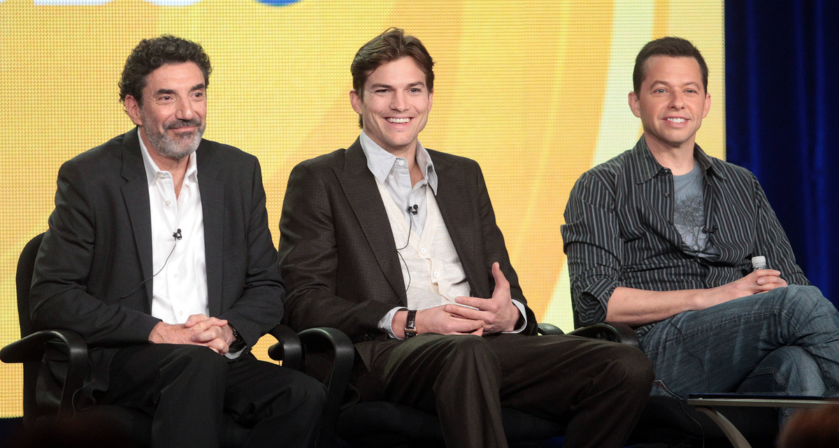 Chuck Lorre, Ashton Kutcher, Jon Cryer Jan. 2012