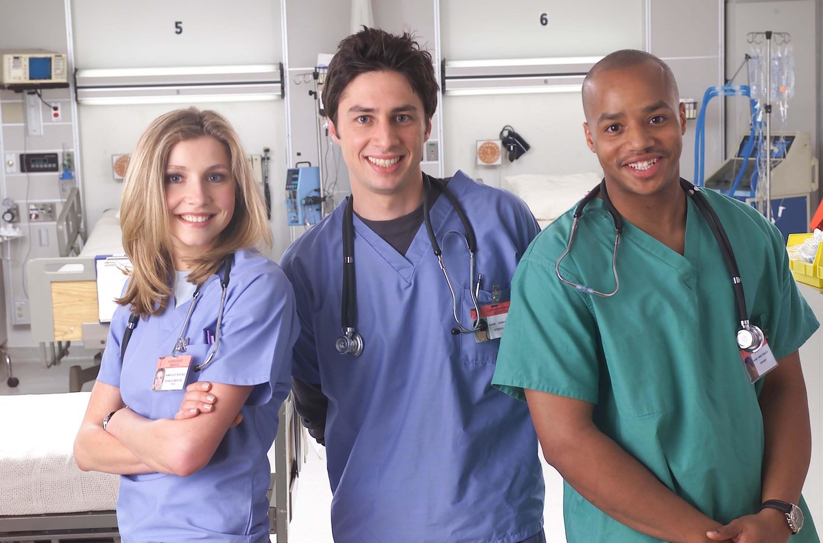Scrubs NBC Sarah Chalke, Zach Braff, and Donald Faison