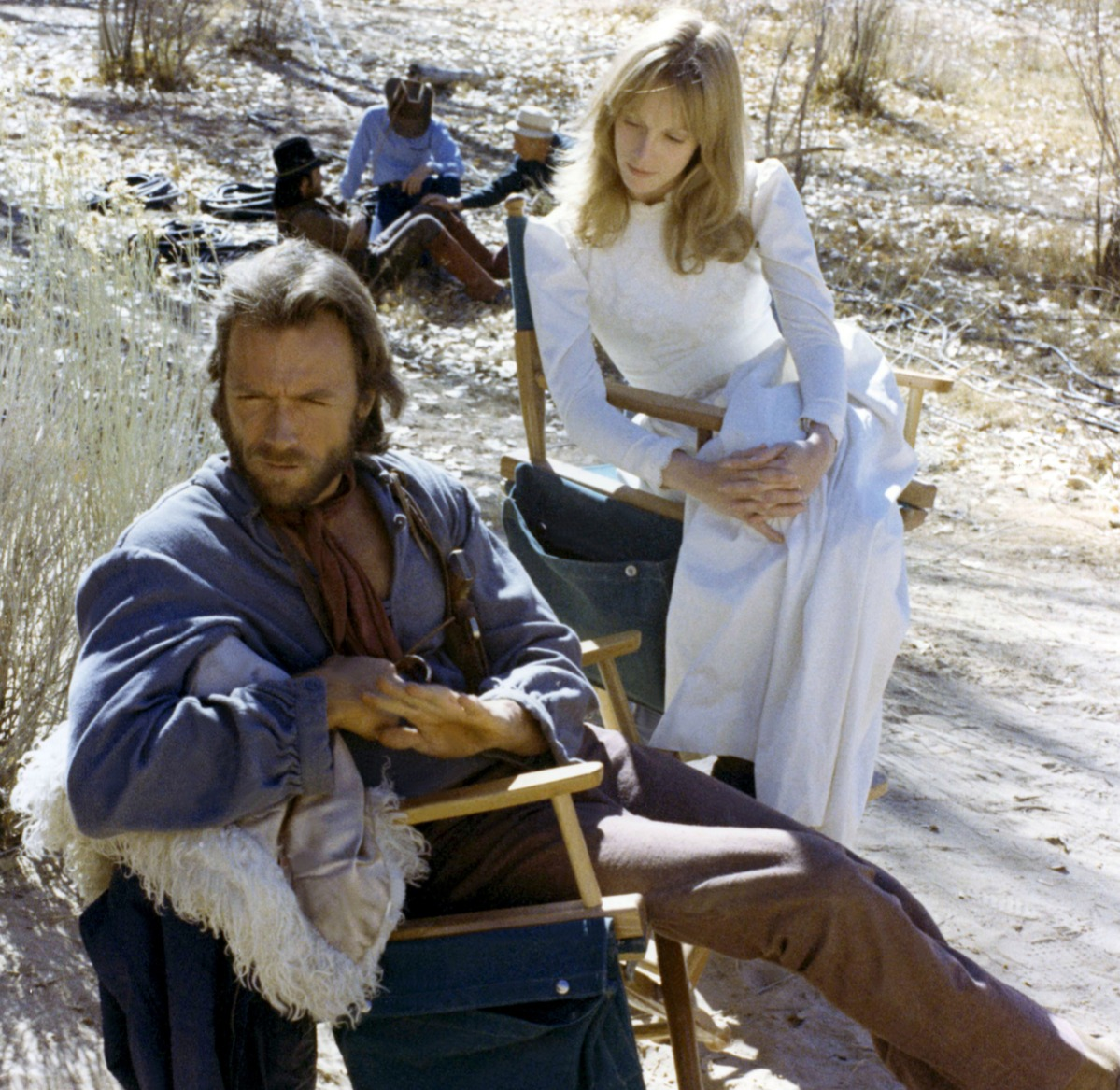 American actress Sondra Locke with actor and director Clint Eastwood on the set of his movie The Outlaw Josey Wales