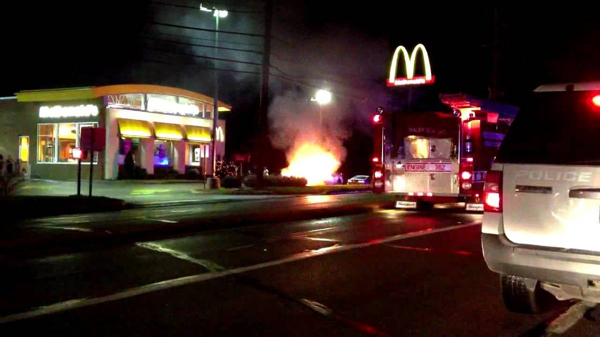 a car on fire at mcdonalds