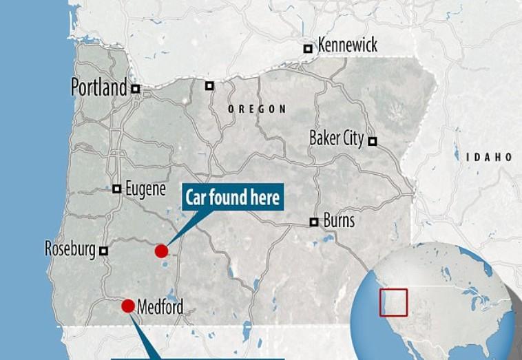 a map of where the porsche was found