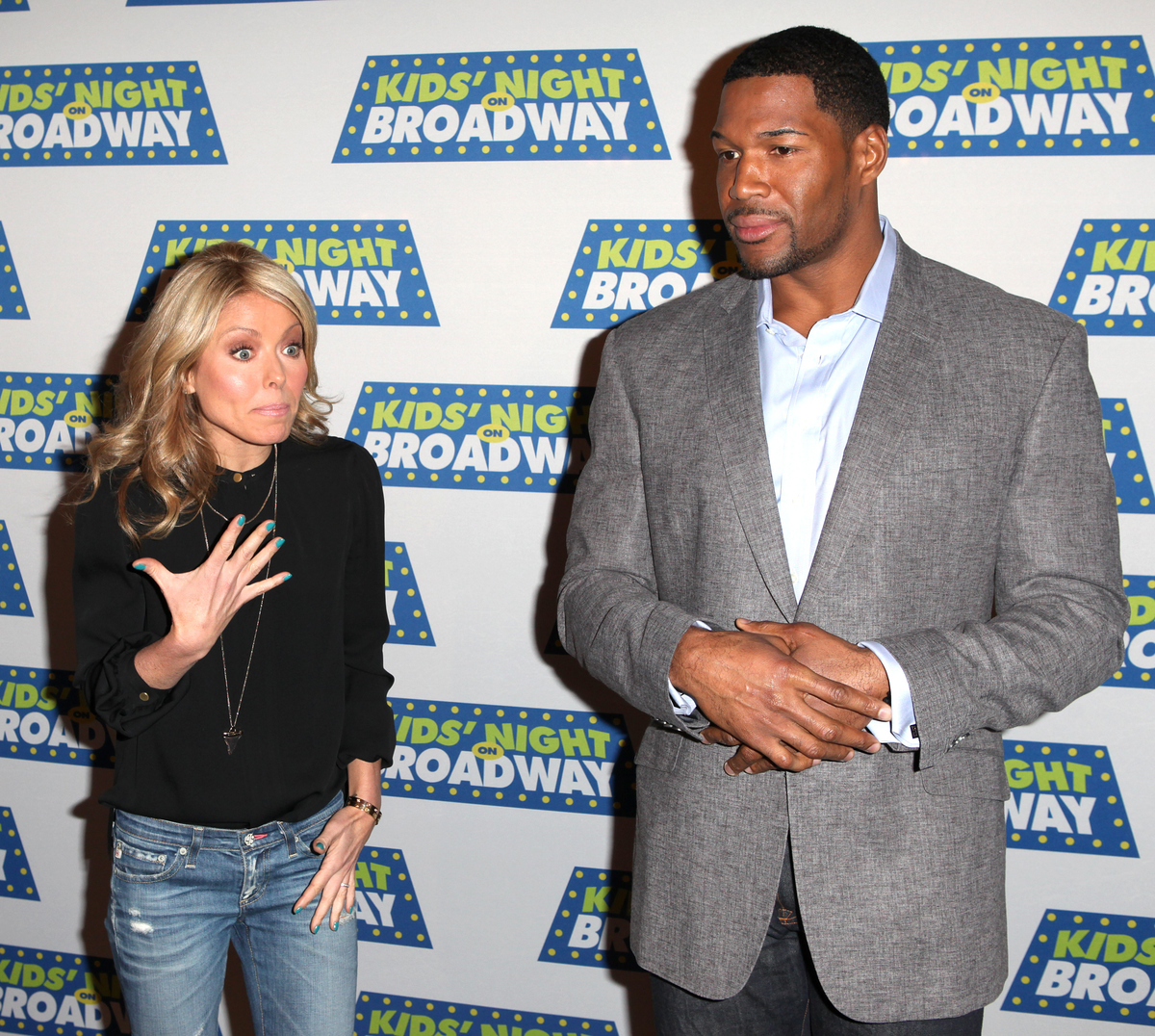 Kelly Ripa & Michael Strahan attending the Kids' Night on Broadway ticket launch with National Ambassadors Kelly Ripa & Michael Strahan at the August Wilson Theatre in New York City on 1/9/2013.