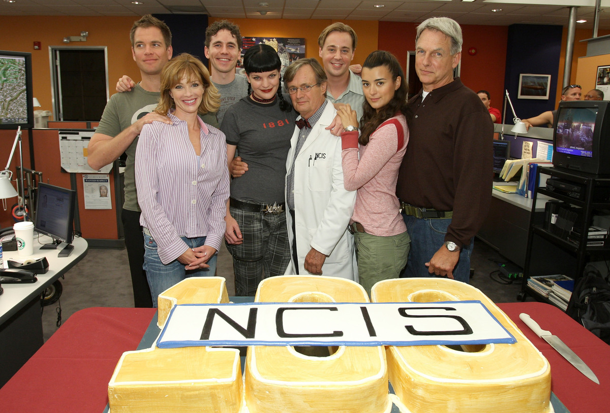 Michael Weatherly, Lauren Holly, Brian Deitzen, Pauley Perrette, David McCallum, Sean Murray, Cote de Pablo, and Mark Harmon at the NCIS 100th Episode Celebration at Valencia Studios on September 4, 2007