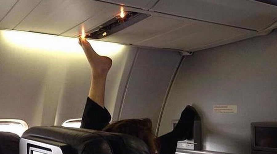 bare feet on plane