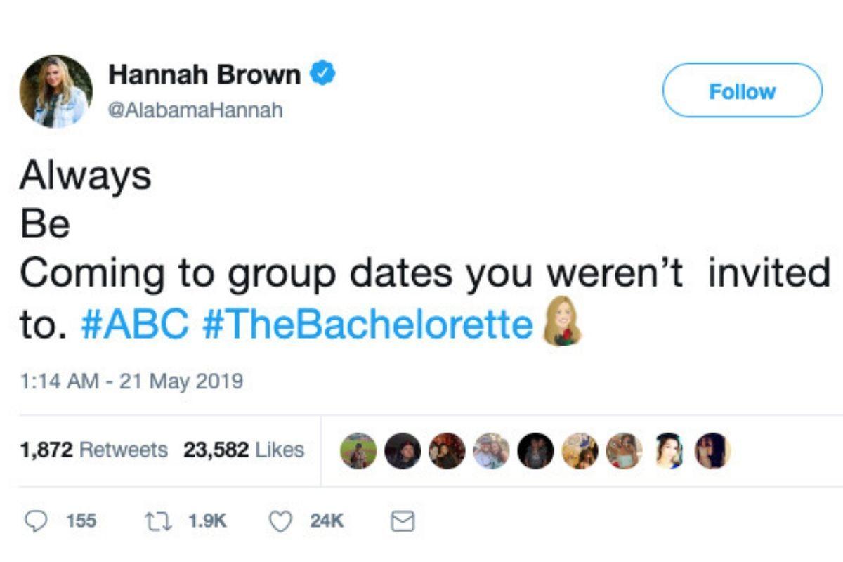 hannah brown bachelorette tweet about group dates