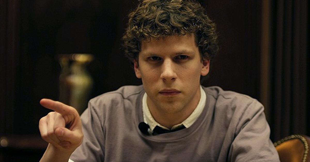 jesse eisenberg as mark zuckerberg in the social network pointing and glaring