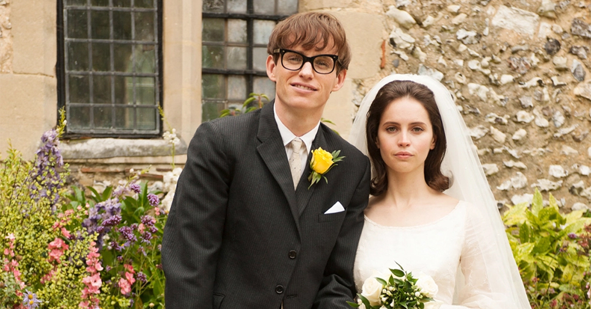 eddie redmayne and felicity jones in wedding attire