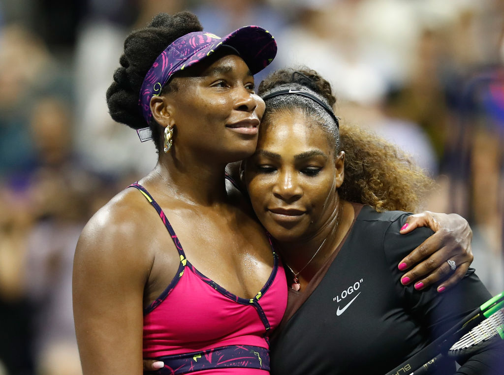 GettyImages-1025638710 Serena Williams of The United States is congratulated by her sister and opponant Venus Williams