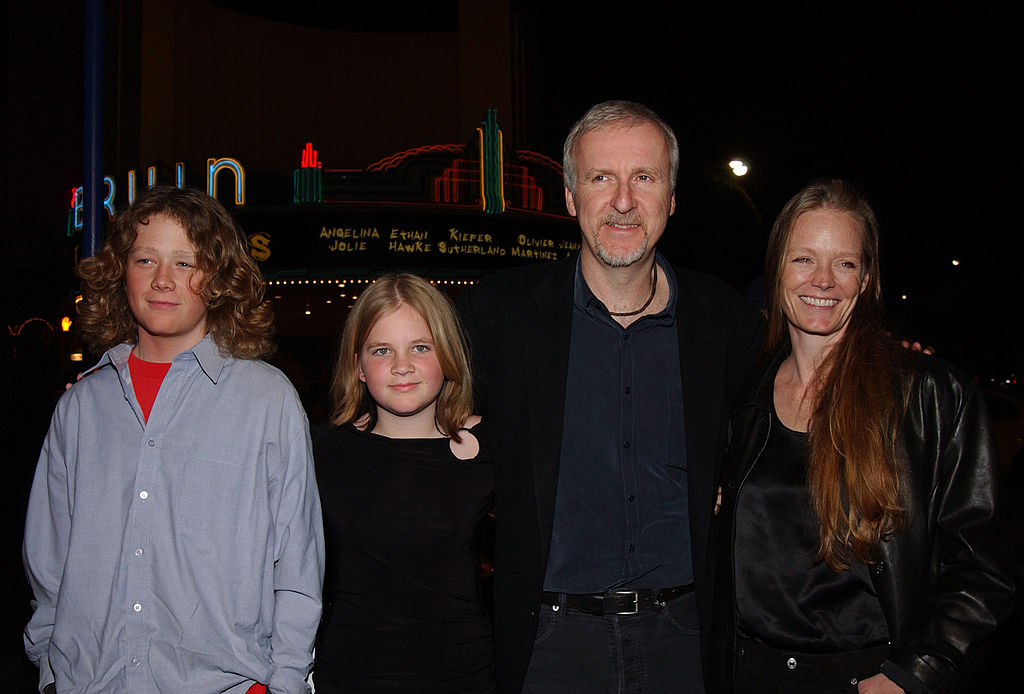 James Cameron, Suzy Amis and family during