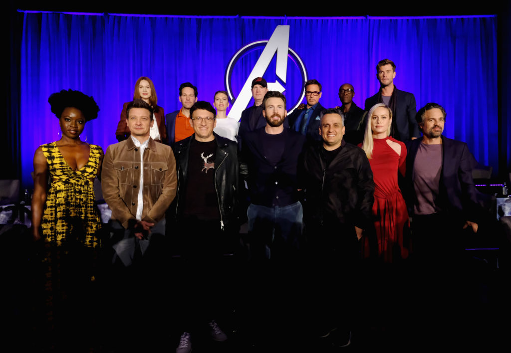 Danai Gurira, Jeremy Renner, Director Anthony Russo, Chris Evans, Director Joe Russo, Brie Larson and Mark Ruffalo, (back L-R) Karen Gillan, Paul Rudd, Scarlett Johansson, President of Marvel Studios/Producer Kevin Feige, Robert Downey Jr., Don Cheadle and Chris Hemsworth onstage during Marvel Studios'