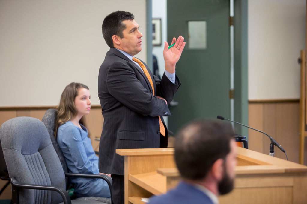 GettyImages-1141634626  Brian Landis' defense attorney Ted Dilworth speaks to Judge Charles Dow during a hearing