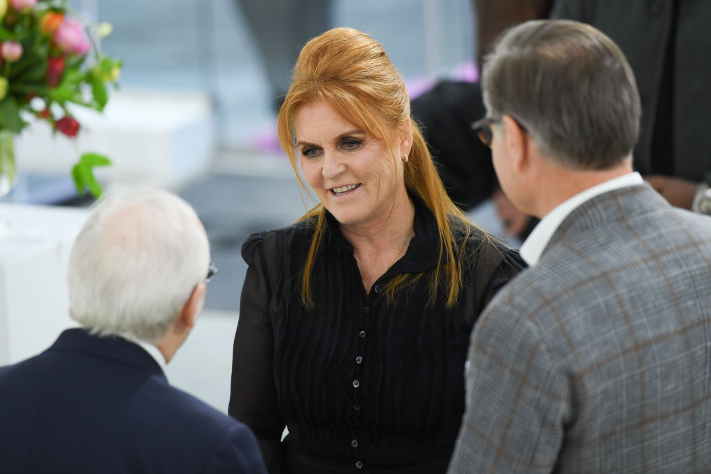GettyImages-1148107595 Duchess of York, Sarah Ferguson attends the T.M. Glass Solo Exhibition Opening at Galerie de Bellefeuille