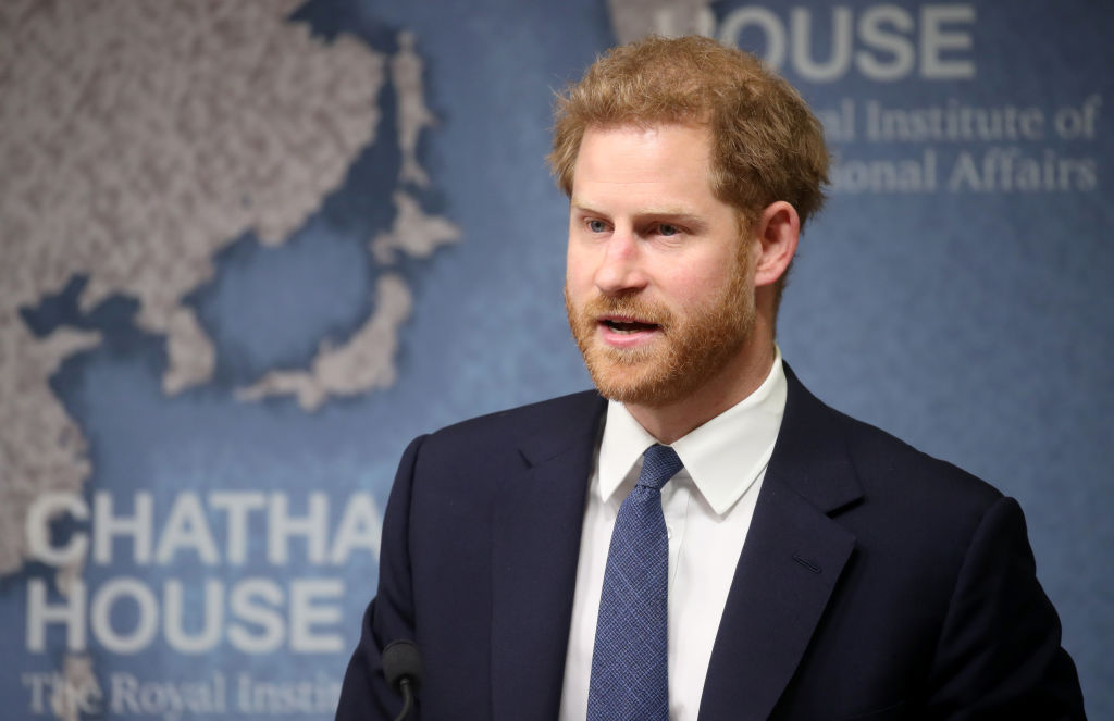 GettyImages-1156445405 prince harry Duke of Sussex makes a speech as he attends the Chatham House Africa Programme event