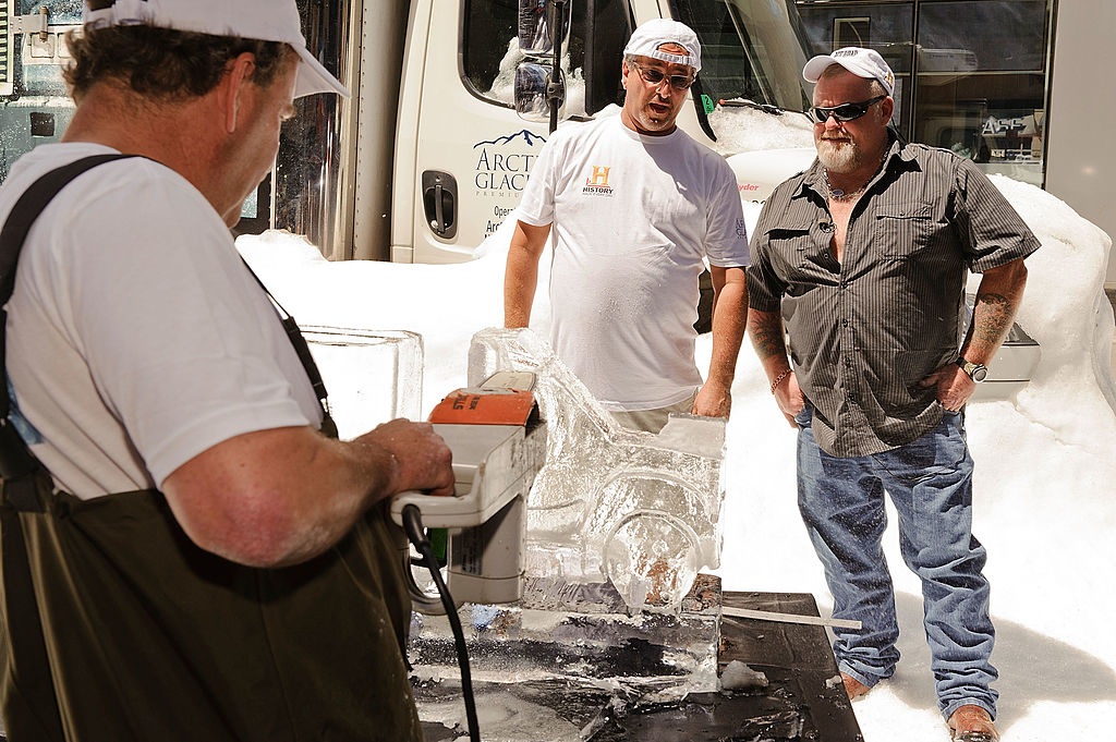 Ice sculpture artist Pete De Grandis, guest and Ice Road Truckers star Hugh
