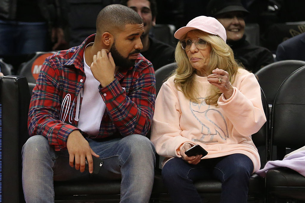 Drake, and mom Sandi Graham, courtside. Toronto Raptors vs Cleveland Cavaliers in 1st half action of NBA regular season play at Air Canada Centre-498757870