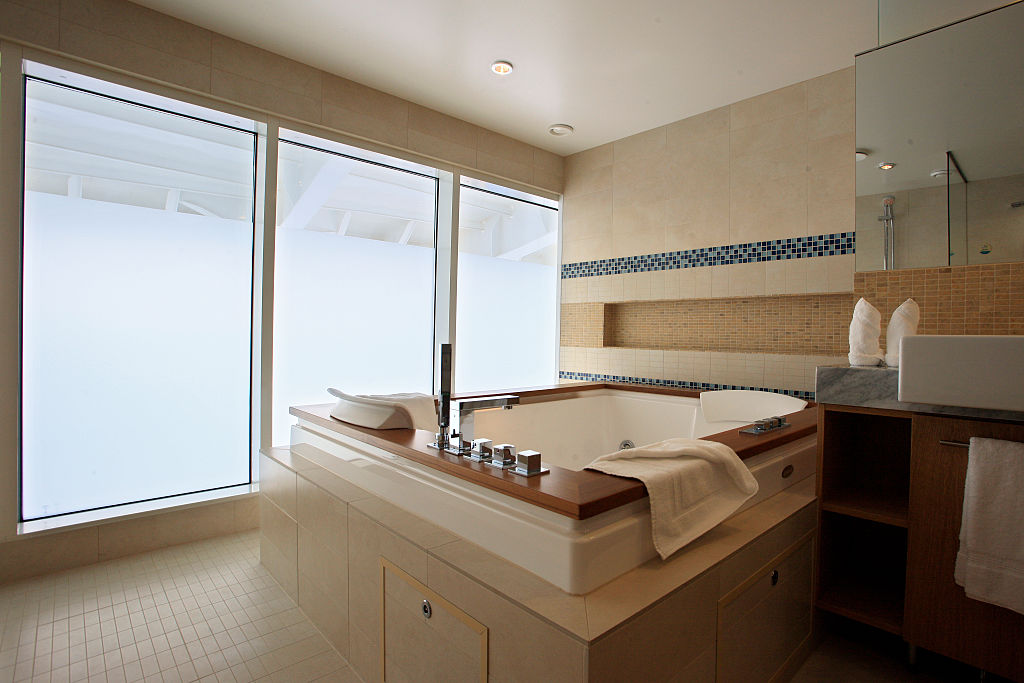 The bathroom in one of the luxury suites onboard the cruise ship Oasis of the Seas. The ship, currently the largest in the world, is owned by Royal Carribean Cruise Line-600002748