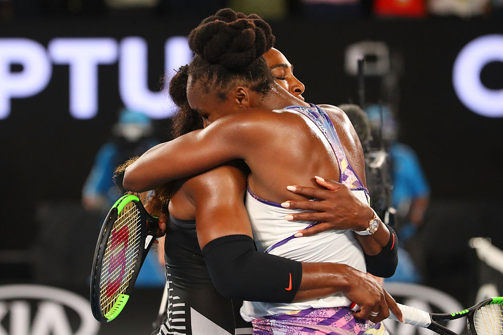 GettyImages-632889420 Serena Williams of the United States is congratulated by Venus Williams of the United States