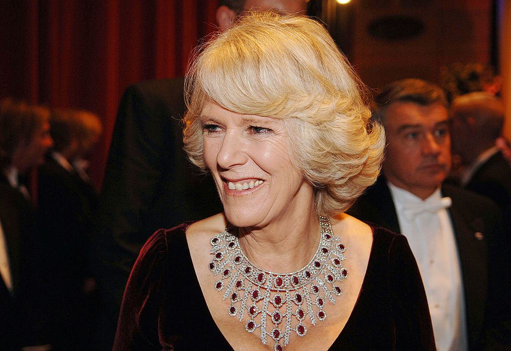 GettyImages-73136109 Camilla, Duchess of Cornwall wears a stunning ruby and diamond necklace at a gala concert to celebrate the 150th anniversary of the Philadelphia Academy of Music