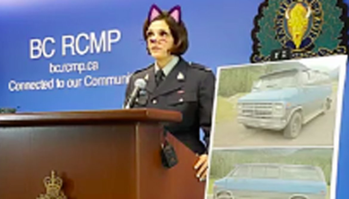 Sgt Janelle Shoihet leading the press conference with a cat filter on