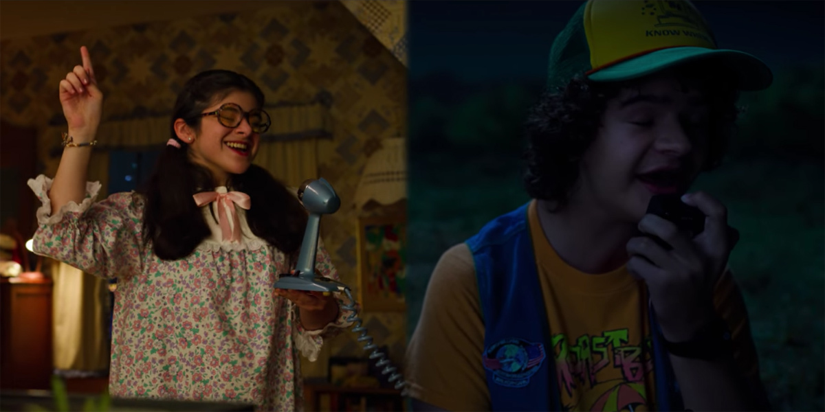 neverending-story-stranger-things-3-dustin-suzie singing a song