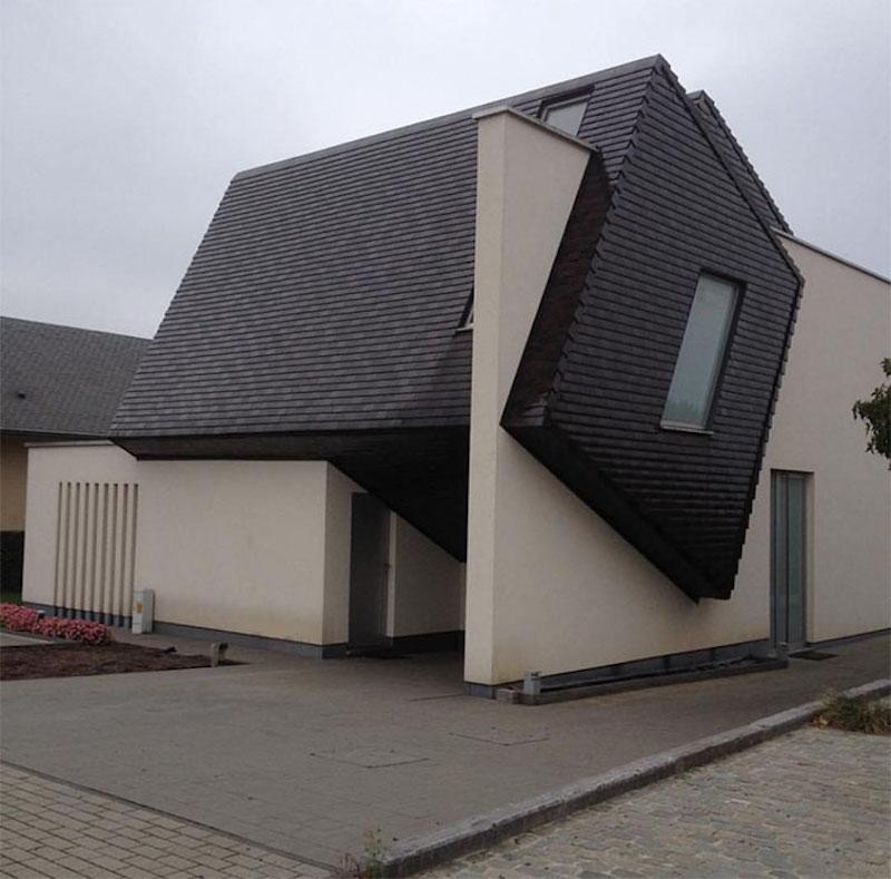 black and white geometric house