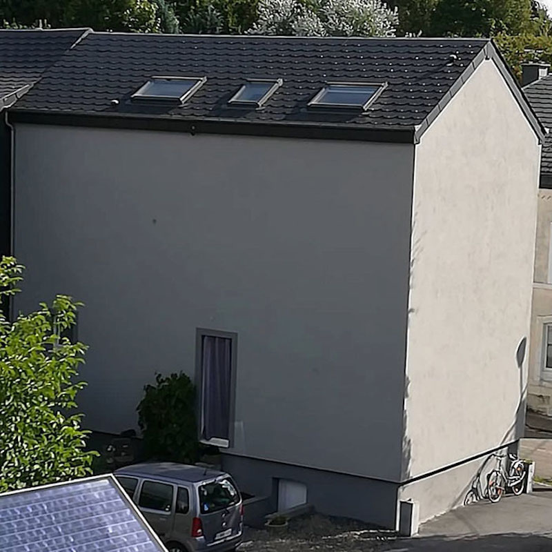 a blank house with no windows, only skylights