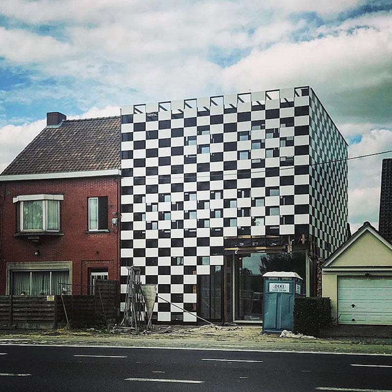 building with black and white squares