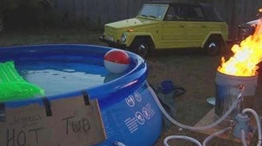 Makeshift hot tub