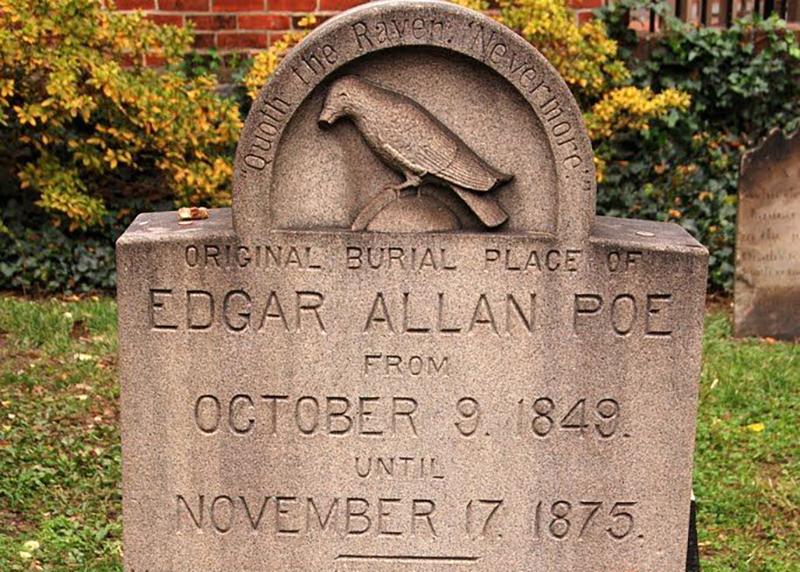 Edgar Allen Poe's headstone in Baltimore, Maryland