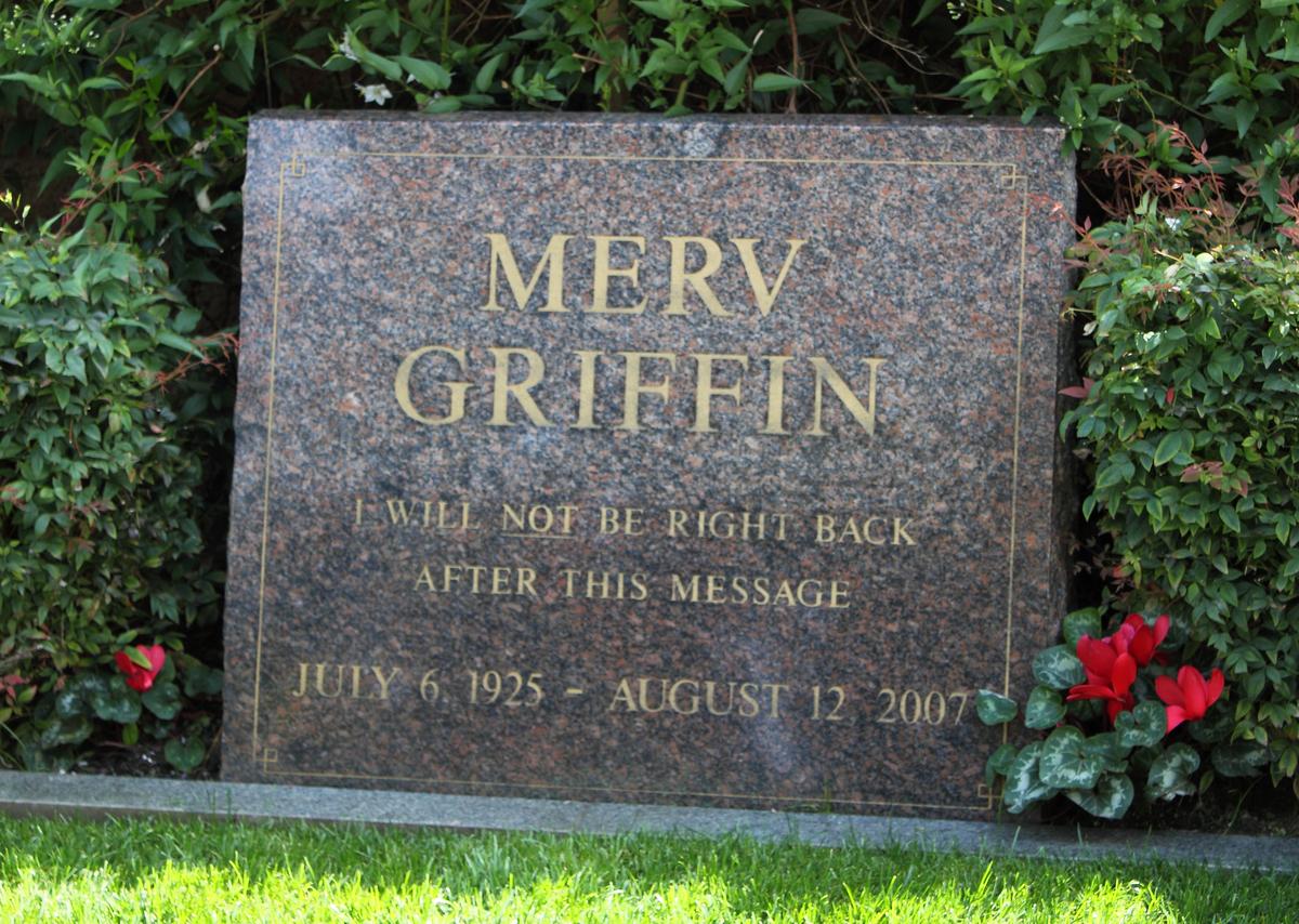 Merv Griffin's tombstone in Westwood Village Memorial Park, Westwood, California.