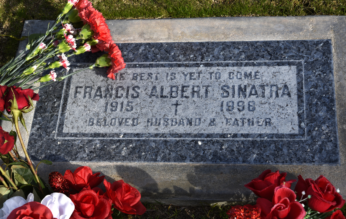 The simple tombstone and grave of singer Frank Sinatra is at Desert Memorial Park in Cathedral City, California