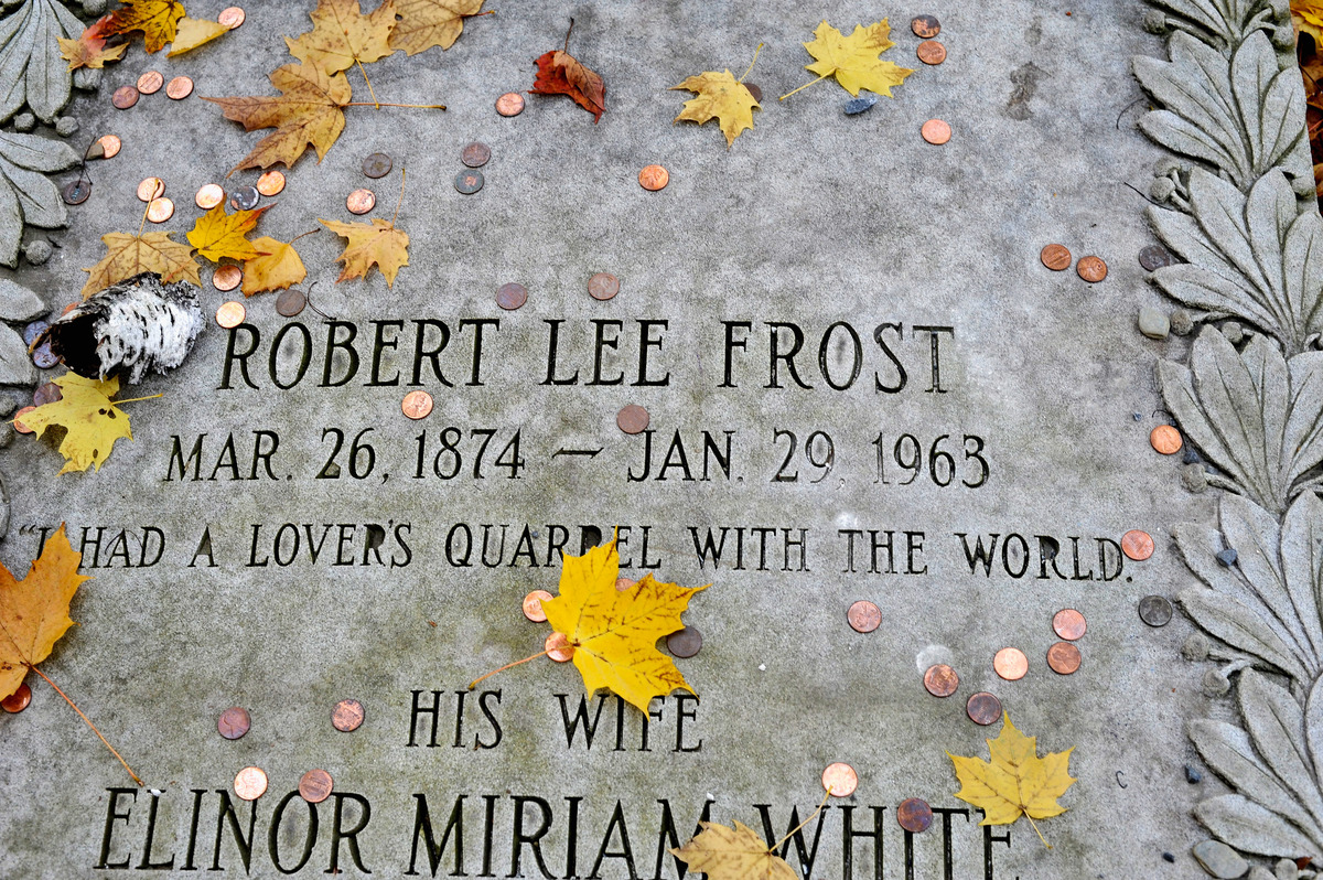 A general view of the poet Robert Frost gravesite at the First Congregational Church of Bennington Cemetary