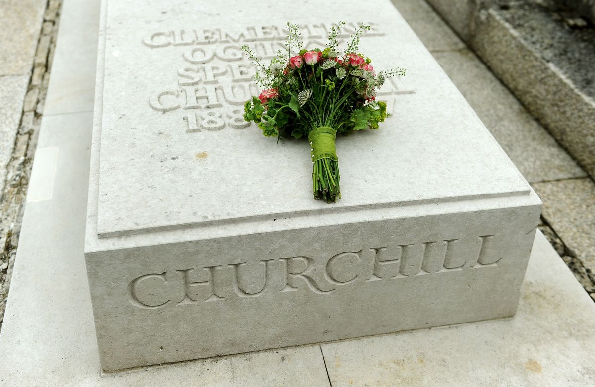 Flowers on Sir Winston Churchill's tomb in Oxfordshire, England