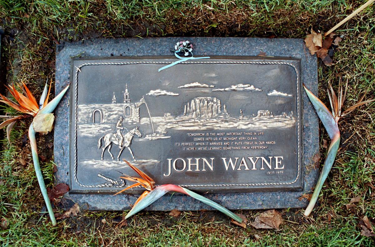 Actor John Wayne's Gravestone In Newport Beach, California