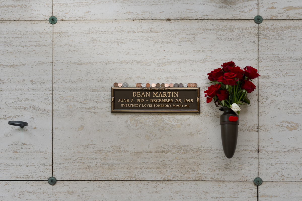 Dean Martin grave in Westwood Cemetery, Los Angeles, California
