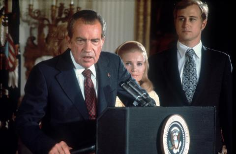 Richard Nixon announces his resignation from the White House, 9th August 1974.