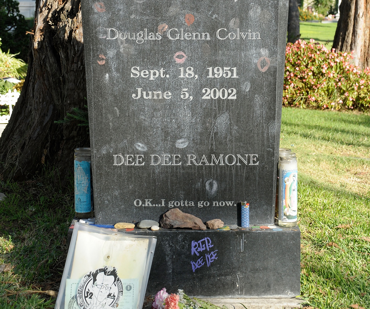 Douglas Ramone's kissed tombstone at Hollywood Forever Cemetery