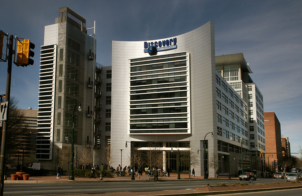 The Discovery headquarters are located next to a street, a convenient location for protests.