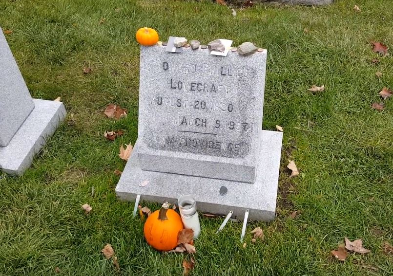 Author HP Lovecraft's grave at Swan Point Cemetery, Providence, Rhode Island