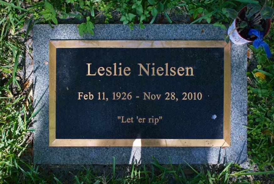 Leslie Nielson's headstone in Fort Lauderdale's Evergreen Cemetery