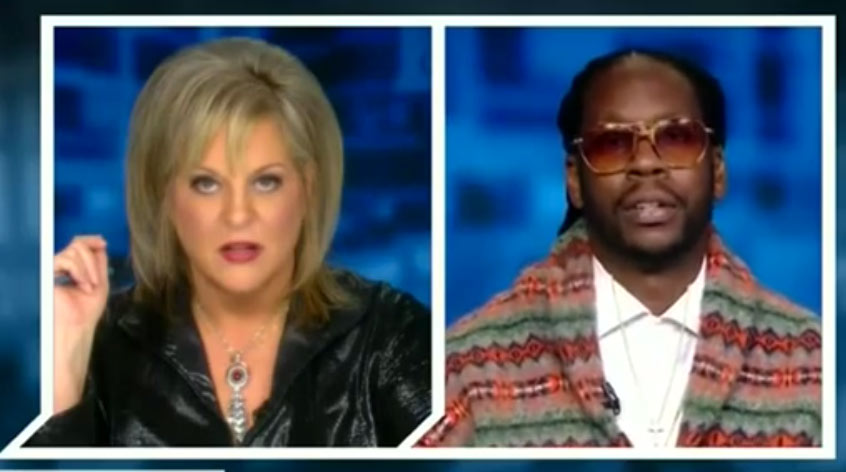 split screen of nancy and 2 chainz