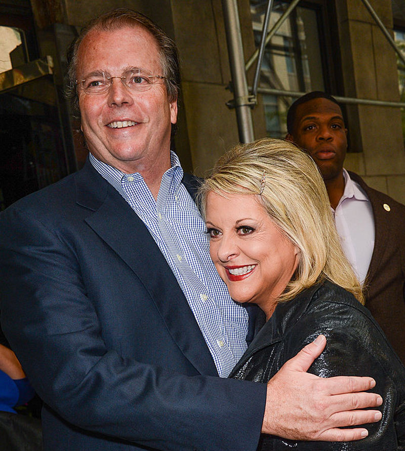 TV personality Nancy Grace (L) and David Linch leaves the
