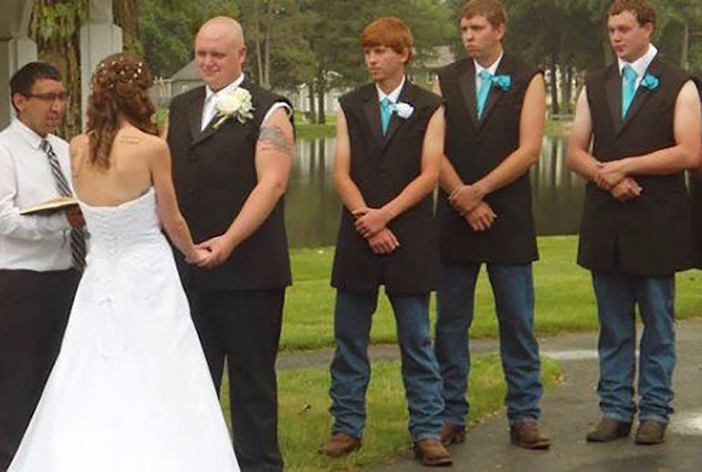 Boys not wearing sleeve at wedding