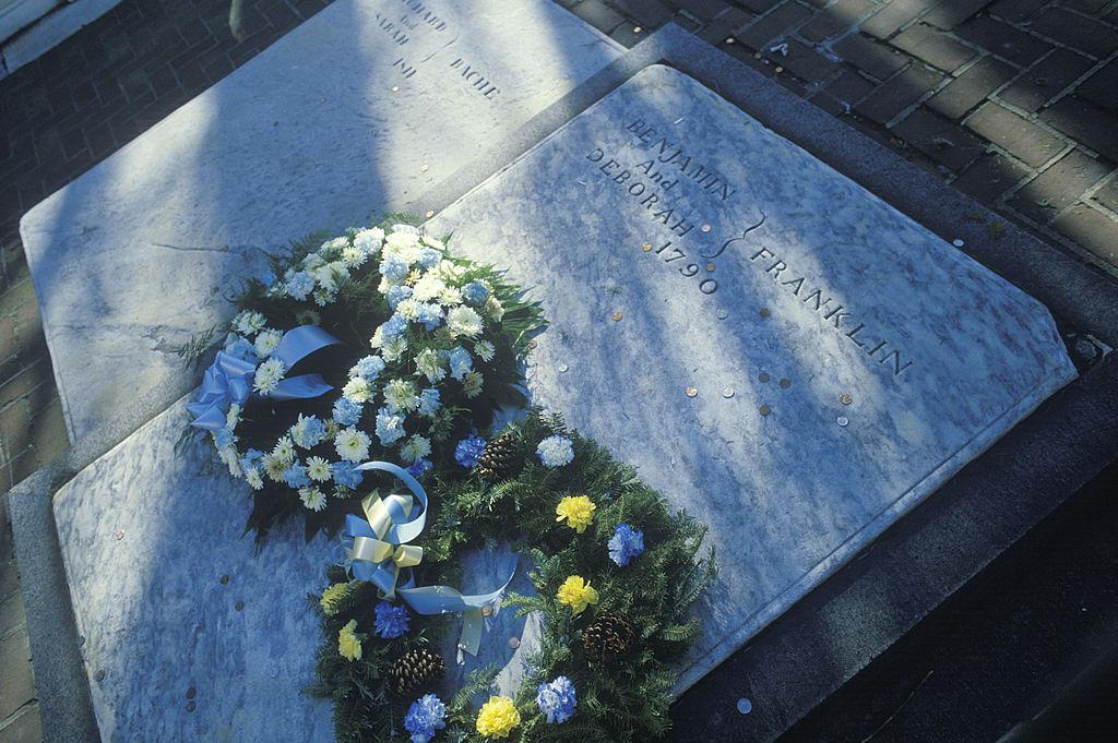 Gravestone on grave of Benjamin Franklin, Philadelphia, PA