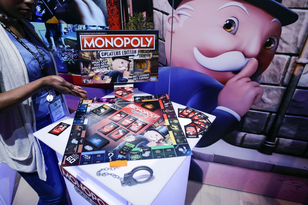 An exhibitor displays the Monopoly