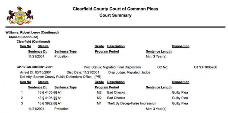 Robert's 2001 court summary