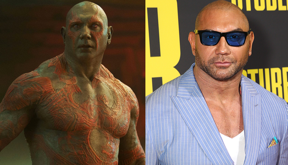 Actor and wrestler Dave Baustista on the right, and his character Drax the Destroyer on the left.